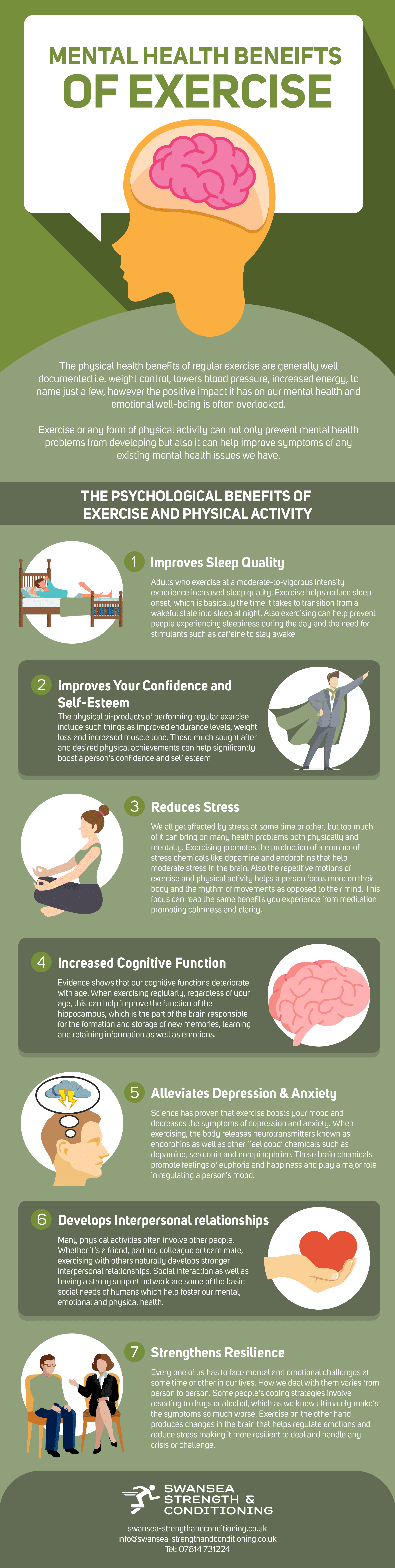 nfographic laying out mental health benefits of regular exercise and physical activity